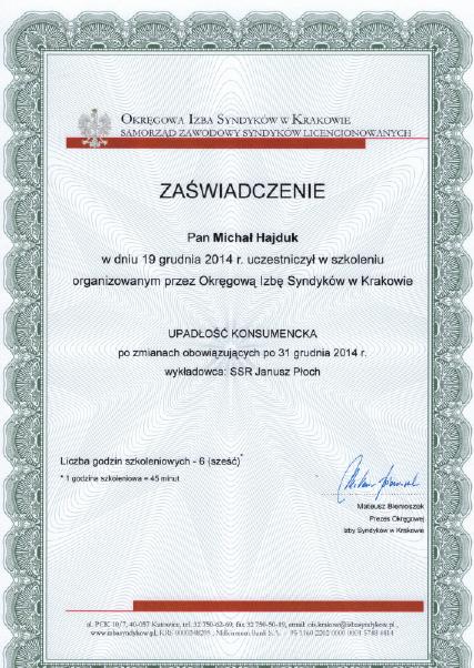 Upadłość konsumencka - adw. Michał Hajduk - zaświadczenie